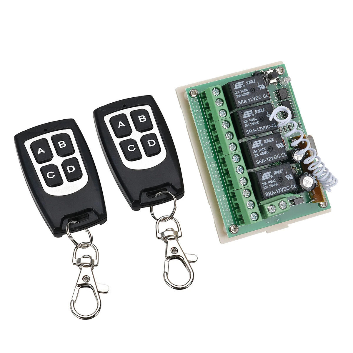12V 4CH Channel 433Mhz Wireless Remote Control Switch With 2 Transmitter