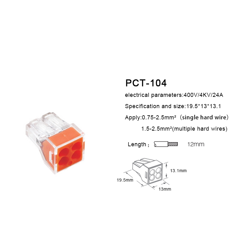 PCT-104 4 Pin Push Splice Cable Connector Conductor